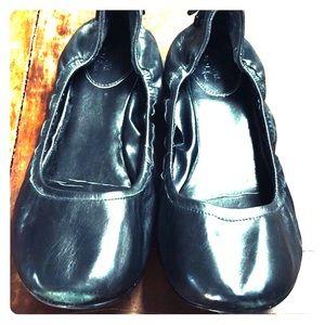 Cole Haan Ballerina Flat 12m Black Leather EUC